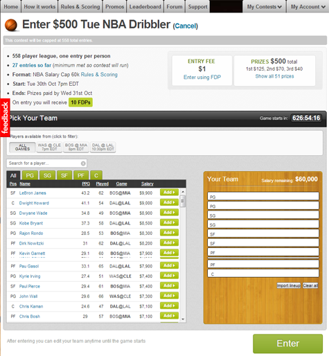 Fanduel Roster Page